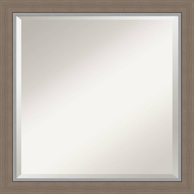 "23"" x 23"" Eva Framed Bathroom Vanity Wall Mirror Brown - Amanti Art"