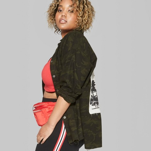 006b5006c Women's Plus Size Camo Print Long Sleeve Button-Down Shirt With Back Patch  - Wild Fable™ Olive : Target