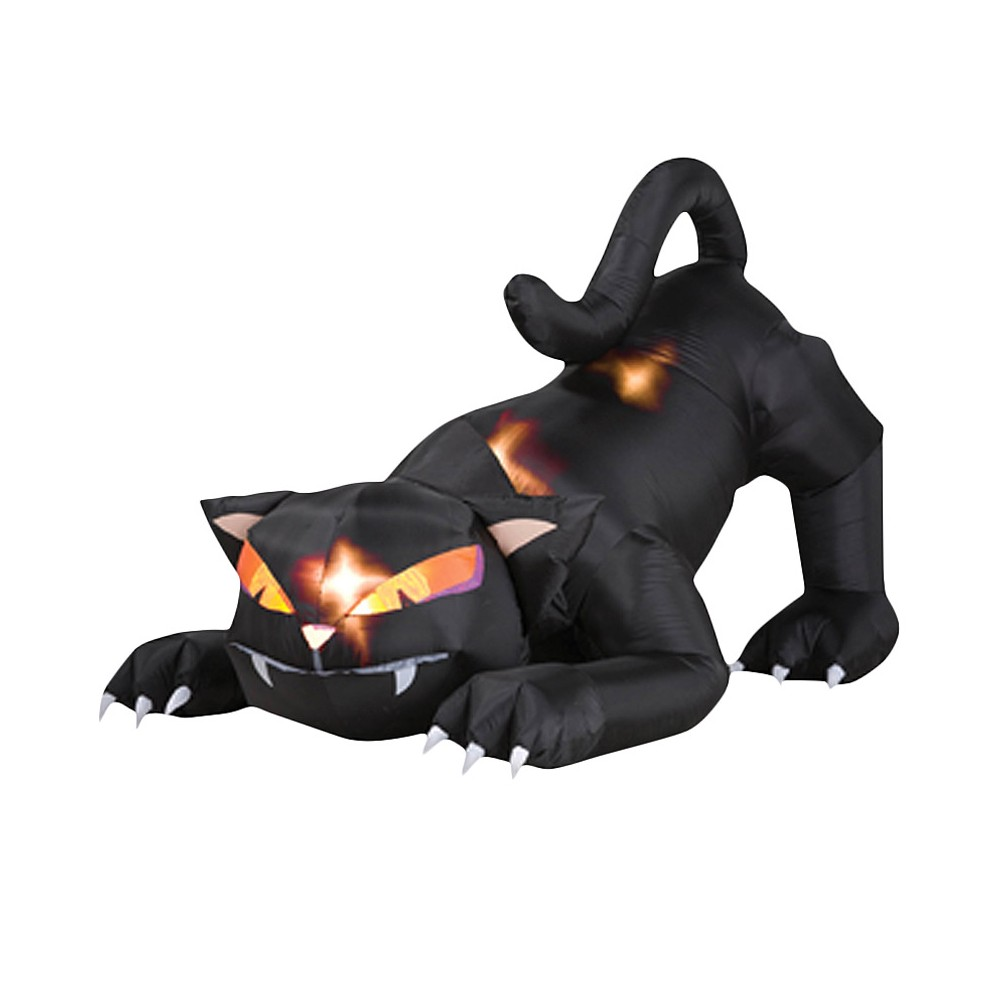 "Image of ""48"""" x 60"""" Halloween Black Cat With Turning Head Inflatable, Multi-Colored"""