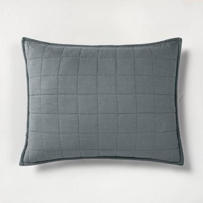 Standard Heavyweight Linen Blend Quilt Pillow Sham Dark Gray - Casaluna™