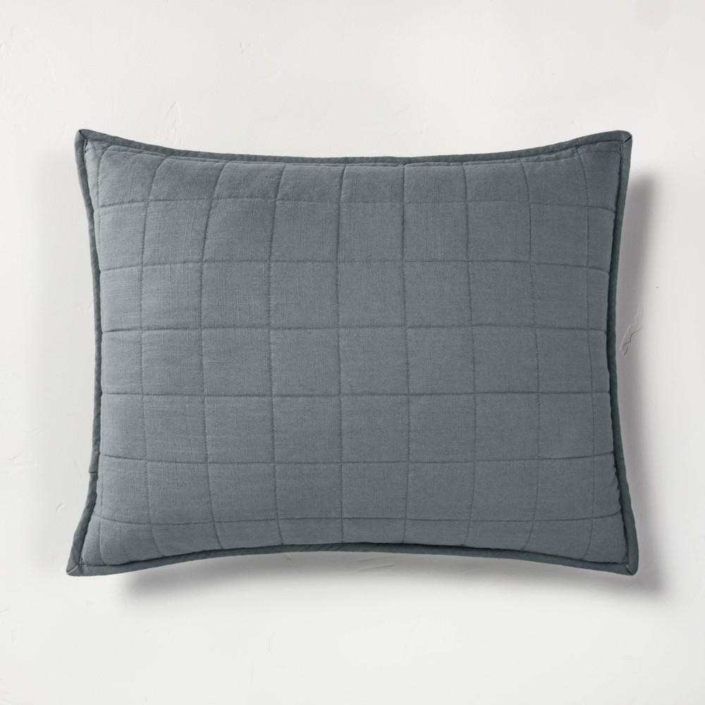 Standard Heavyweight Linen Blend Quilted Pillow Sham Dark Gray - Casaluna