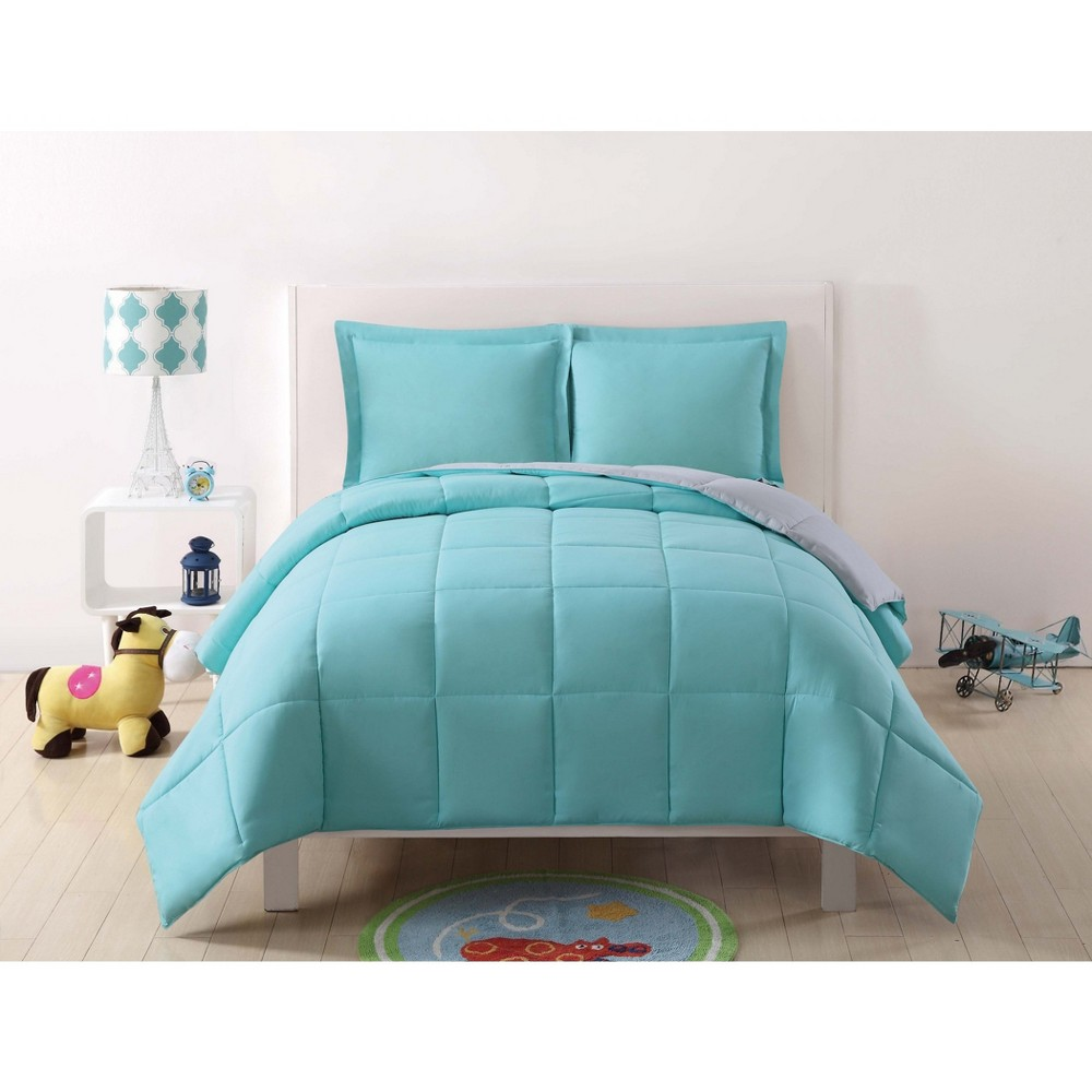Image of Full/Queen Anytime Solid Comforter Set Turquoise/Gray - My World