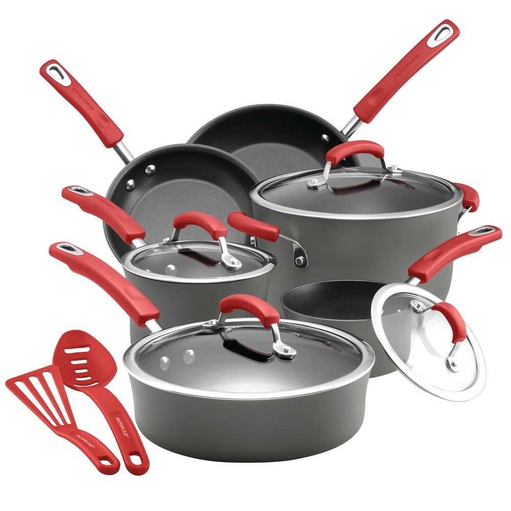 Image of Rachael Ray 12pc Hard-Anodized Nonstick Cookware Set Red