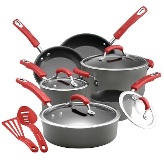 Rachael Ray 12pc Hard-Anodized Nonstick Cookware Set Red