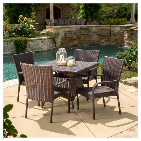 wicker patio dining sets Wesley 5pc Wicker Patio Dining Set   Brown   Christopher Knight  wicker patio dining sets