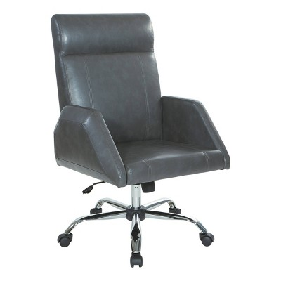 Rochester Executive Chair With Chrome Base Faux Leather Charcoal Osp Home Furnishings Target