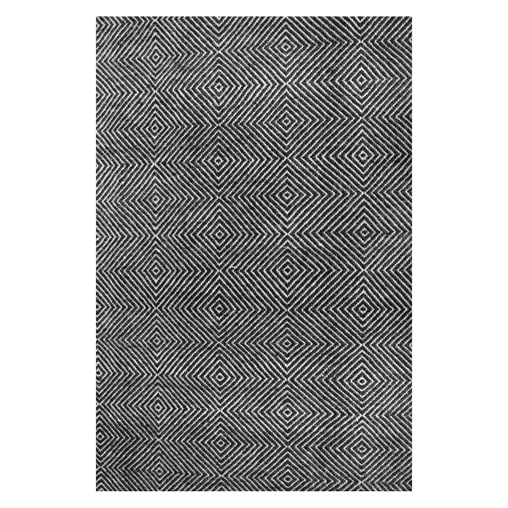 4 39 X6 39 Ago Wool And Cotton Hand Woven Area Rug Black Nuloom