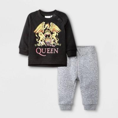 Baby Boys' 2pc Queen Long Sleeve Fleece Pullover and Jogger Set - Black 0-3M