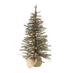 Northlight 4' Prelit Artificial Christmas Tree Warsaw Twig in Burlap Base - Clear Lights