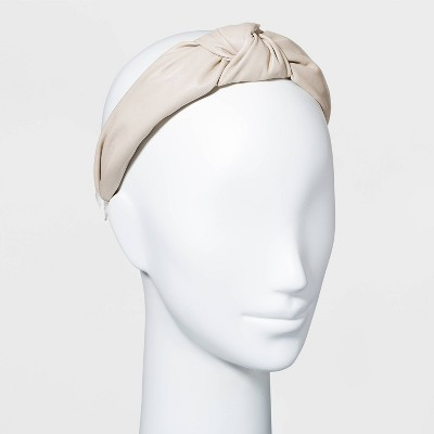 Faux Leather Knot Headband - A New Day™ Beige