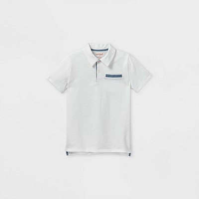 Boys' Short Sleeve Knit Polo Shirt - Cat & Jack™ White