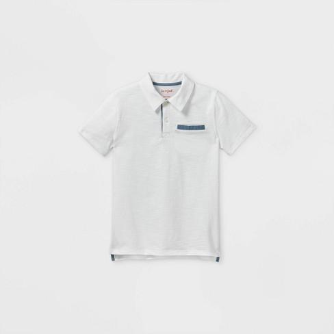 Boys' Short Sleeve Knit Polo Shirt - Cat & Jack™ White - image 1 of 2