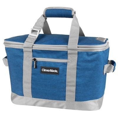 CleverMade SnapBasket 50 Can Soft-Sided Collapsible Cooler - Heather Blue/Gray