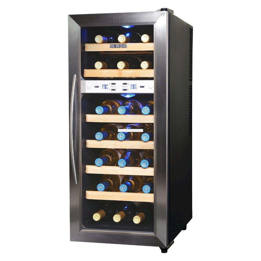 Image of NewAir 21 Bottle Dual Zone Wine Cooler - Stainless Steel AW-211ED, Silver