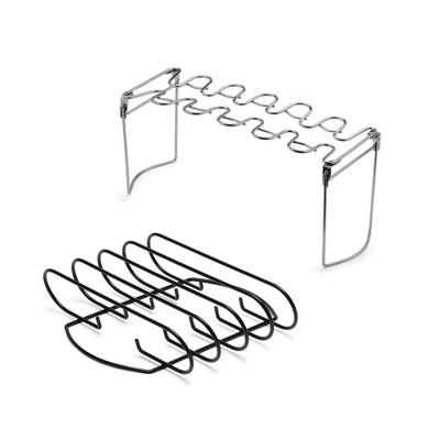 B2Q 2pc Rib Rack & Chicken Leg/Wing Rack - Stainless Steel