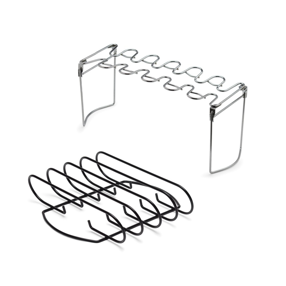 Image of B2Q 2pc Rib Rack & Chicken Leg/Wing Rack - Stainless Steel (Silver)