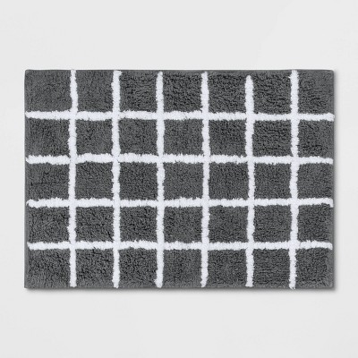 Grid Bath Rug Gray - Room Essentials™