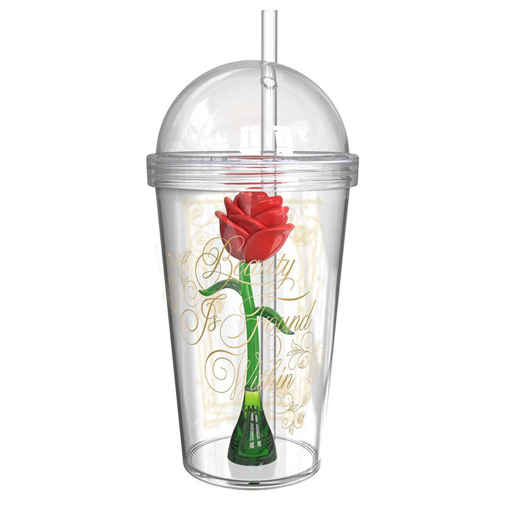 Image of Disney Beauty and the Beast 23.5oz Plastic Rose Tumbler With Straw - Zak Designs