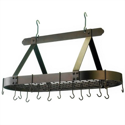 Old Dutch International Oiled Bronze Oval Hanging Pot Rack with Grid and 16 Hooks