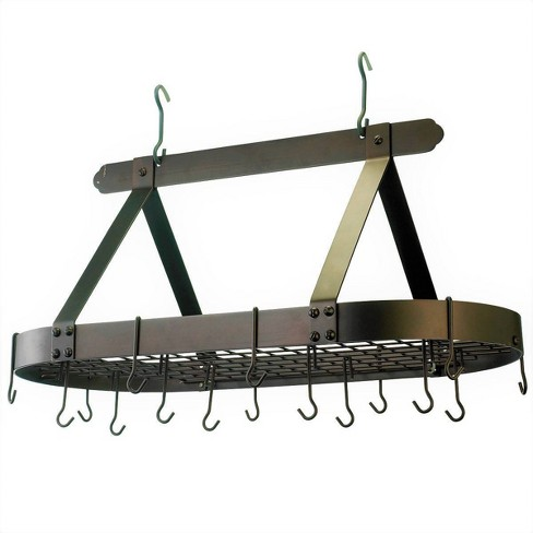 Old Dutch International Oiled Bronze Oval Hanging Pot Rack with Grid and 16 Hooks - image 1 of 3