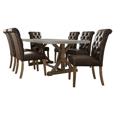 Sullivan 7-Piece Concrete Topped Dining Set - Tufted Brown Bonded Leather