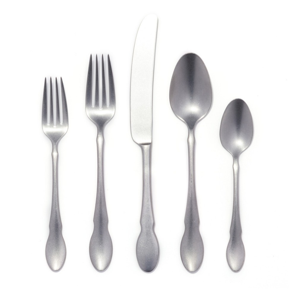 Image of Gourmet Settings 20pc Stainless Steel Ash Silverware Set, Silver