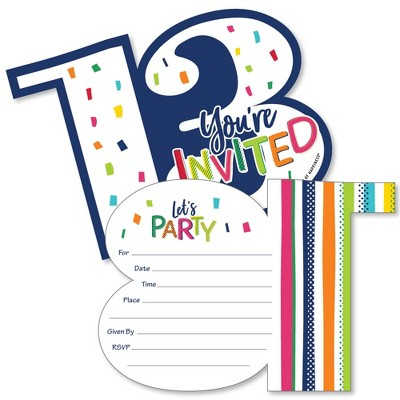 Big Dot of Happiness 13th Birthday - Cheerful Happy Birthday - Shaped Fill-In Invites - Thirteenth Birthday Invites Cards with Envelopes - Set of 12