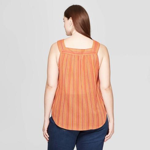 ece759f183 Women s Plus Size Striped Sleeveless Square Neck Top - Universal Thread™  Rust