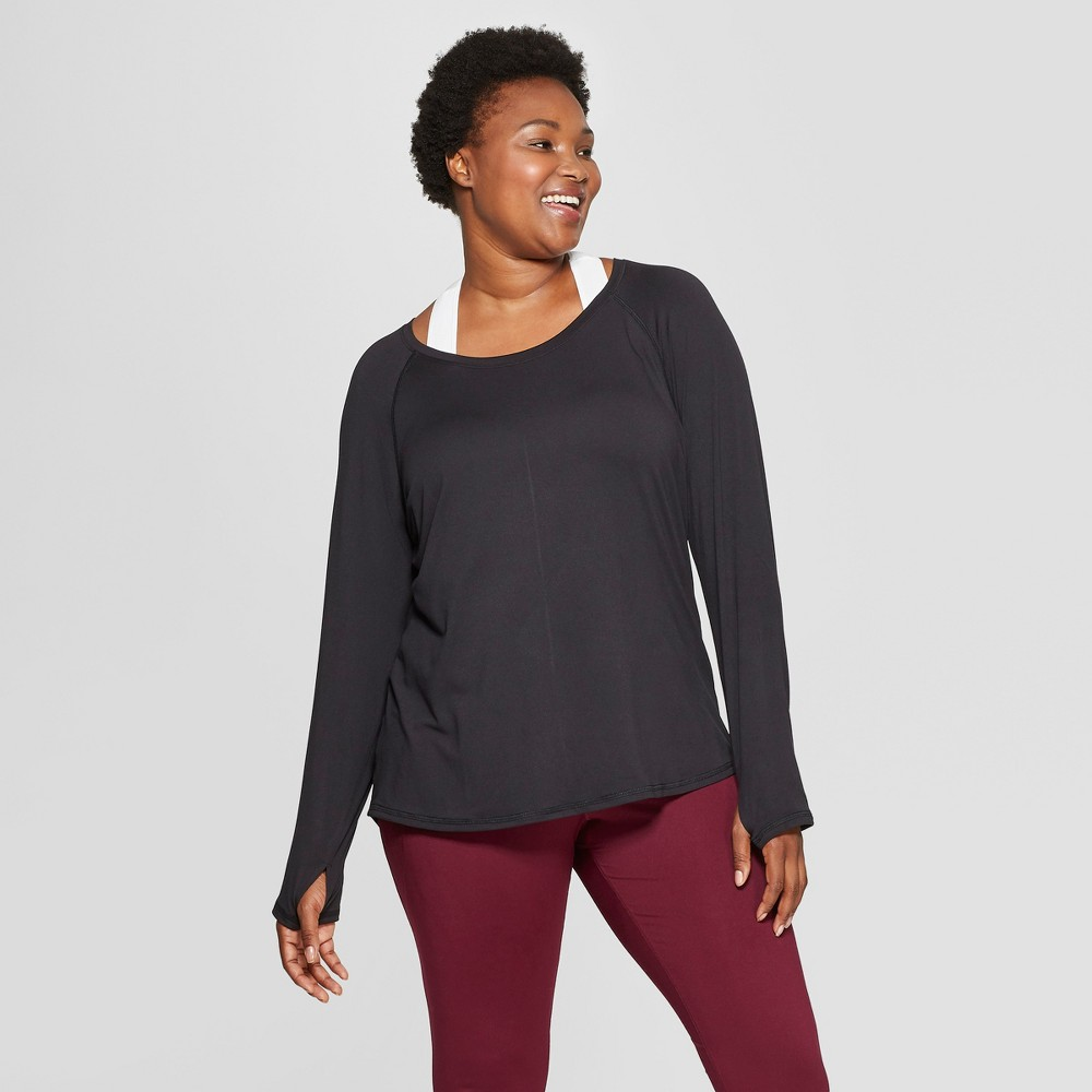 Women's Plus-Size Long Sleeve Tech T-Shirt - C9 Champion - Black 1X