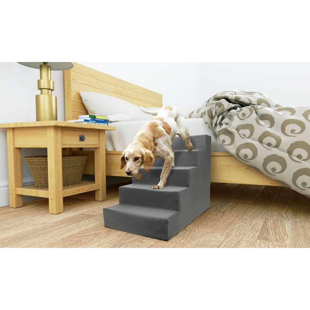 Precious Tails High Density Foam 5 Steps Dog Stairs Gray