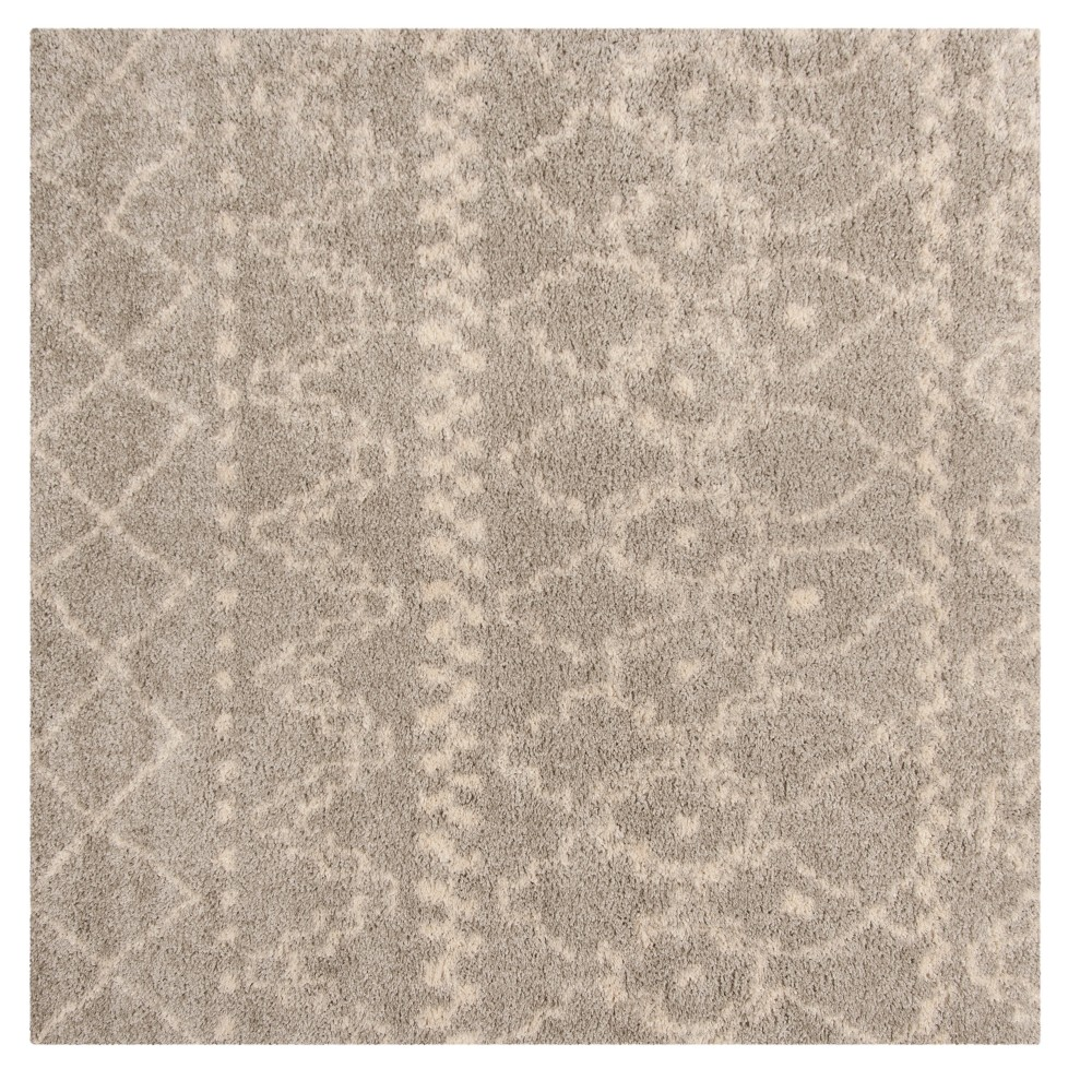 Gray/Ivory Geometric Loomed Square Area Rug 6'7