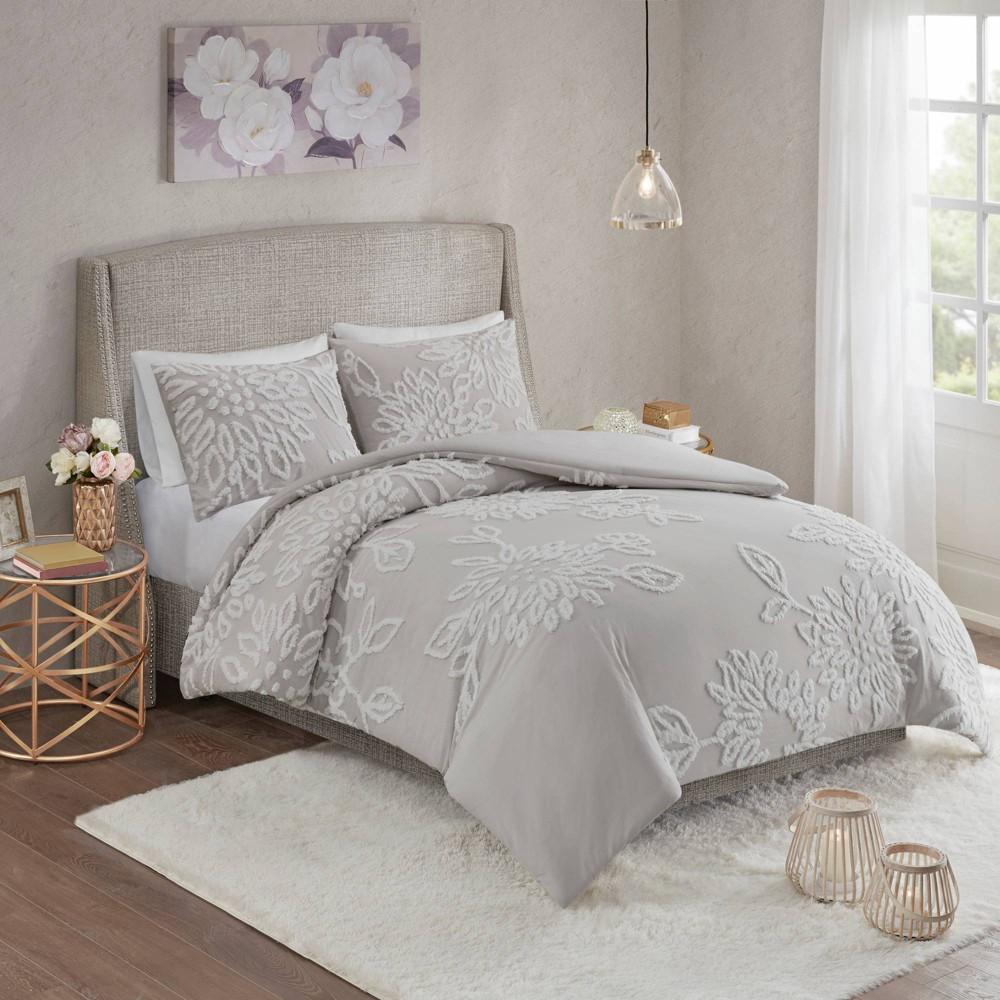 Danica King California King 3pc Tufted Cotton Chenille Floral Duvet Cover Set Gray White