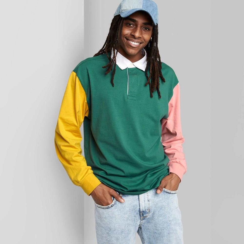 Men 39 S Regular Fit Colorblock Long Sleeve Rugby T Shirt Original Use 8482 Sea Green M