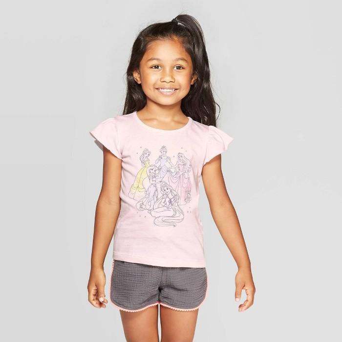 Toddler Girls' Disney Princess Short Sleeve T-Shirt - Pink - image 1 of 3