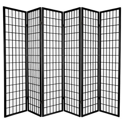 6 ft. Tall Window Pane Shoji Screen - Black (6 Panels)
