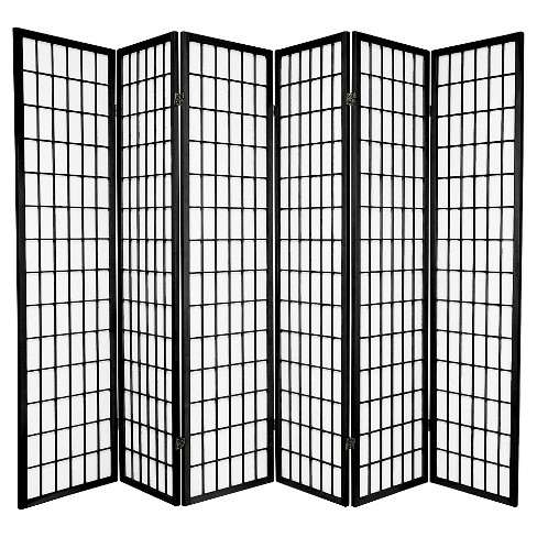 6 ft. Tall Window Pane Shoji Screen - Black (6 Panels) - image 1 of 1