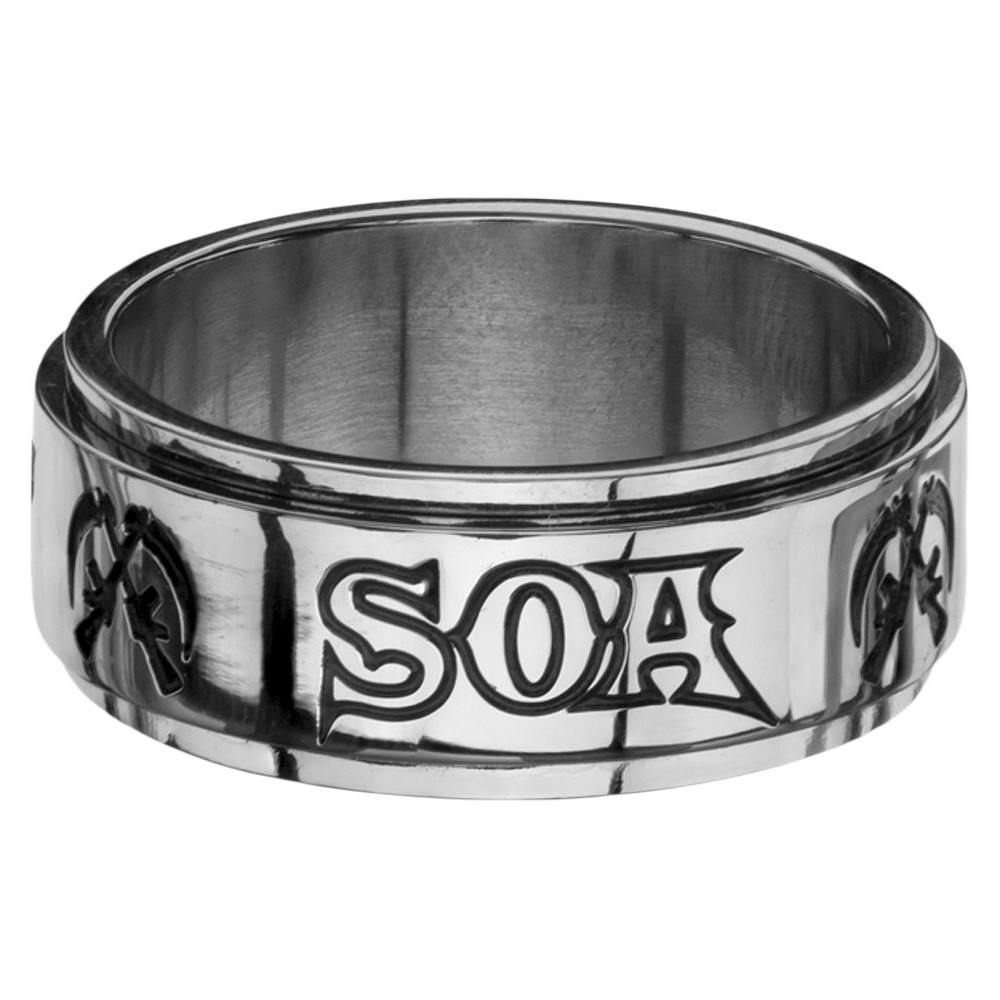 Men's Sons of Anarchy Soa Stainless Steel Spinner Ring (10), Size: 12, Silver