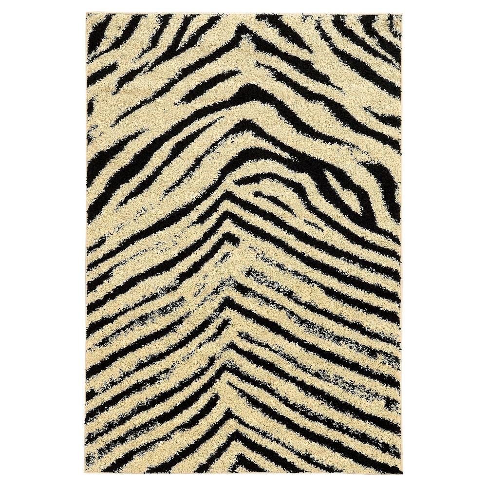 Image of Moroccan Shag Accent Rug - Sahara Ivory / Black (3' X 5')