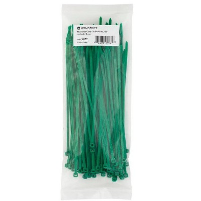 Monoprice 8-inch Cable Tie, 100pcs/Pack, 40 lbs Max Weight - Green