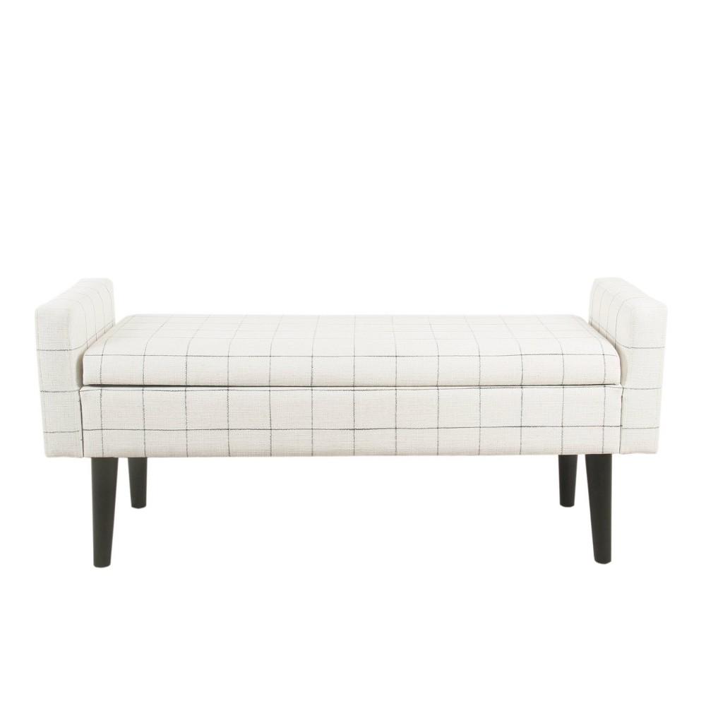 Fulton Storage Bench White Windowpane - HomePop was $239.99 now $179.99 (25.0% off)