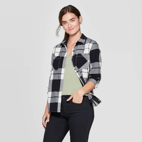 Women's Plaid Long Sleeve Cotton Flannel Shirt - Universal Thread™ Black/White - image 1 of 3