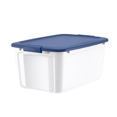 14gal Locking Lid Box Blue/White - Bella Storage