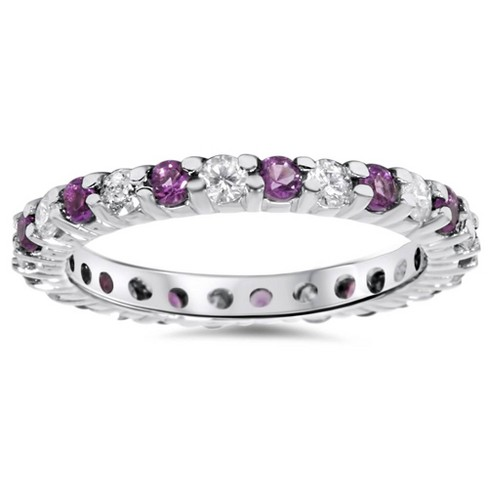 Pompeii3 1 1/2ct Diamond & Amethyst Eternity Stackable Ring 14K White Gold - image 1 of 4