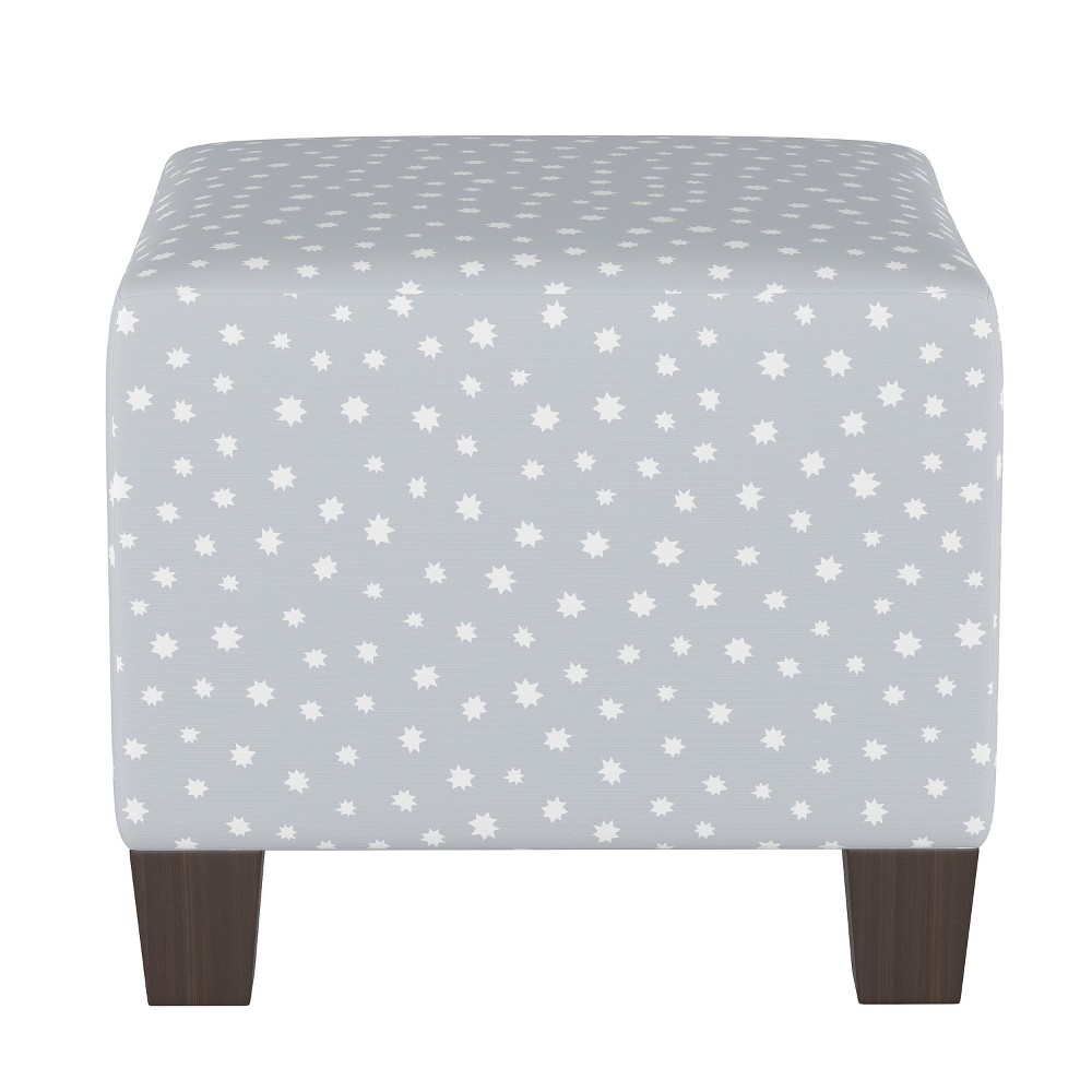 Image of Kids Square Ottoman Navy/Gray Stars - Pillowfort