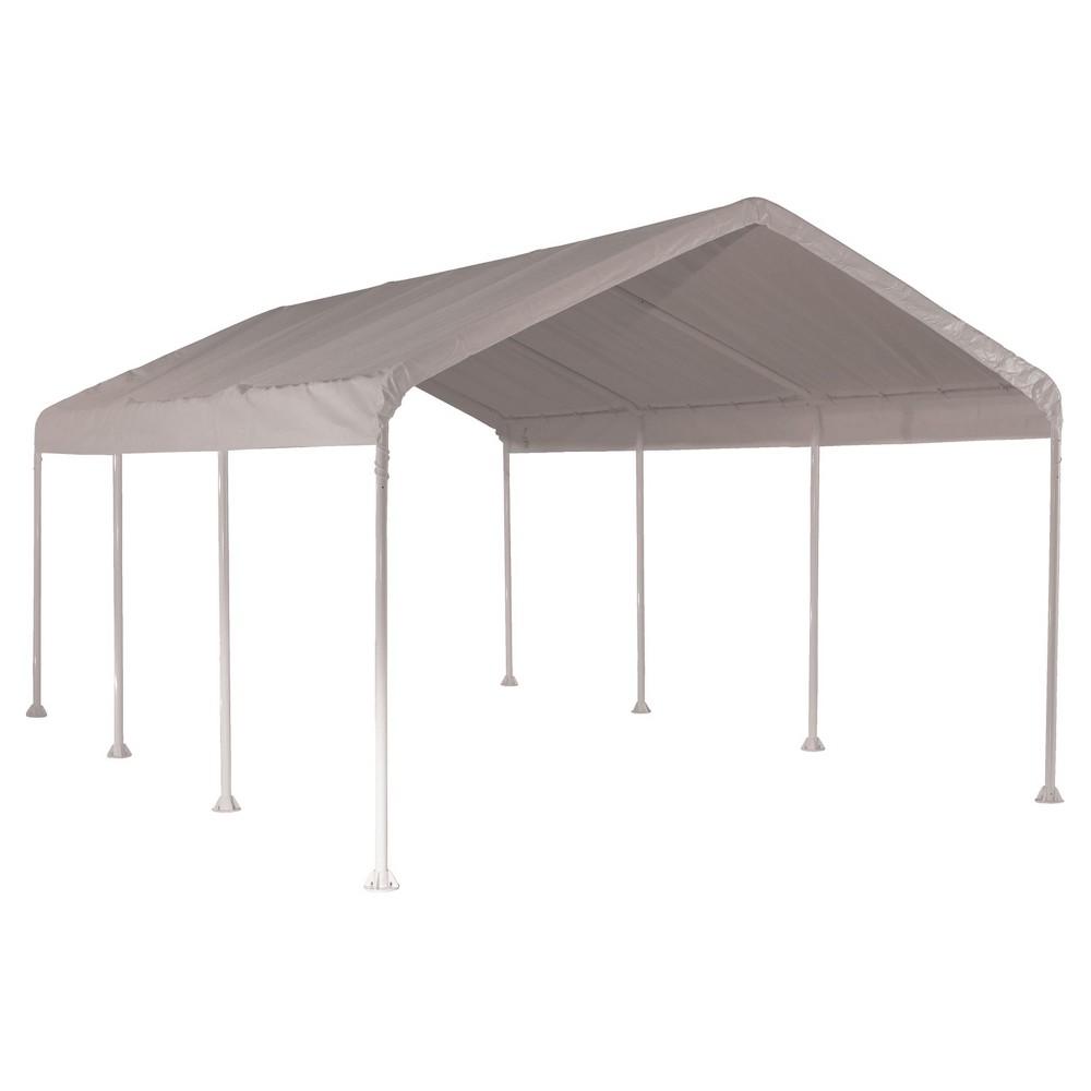 Max Ap 10' X 20' Heavy Duty 4 Rib Canopy with White Polythene Cover - Shelterlogic