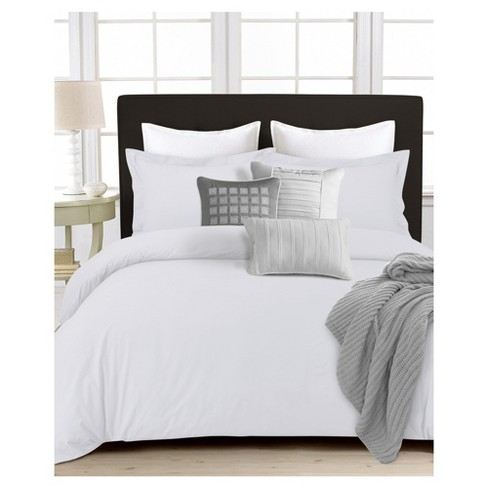 350tc Cotton Percale Solid Duvet Cover Set 3pc - Tribeca Living® - image 1 of 1