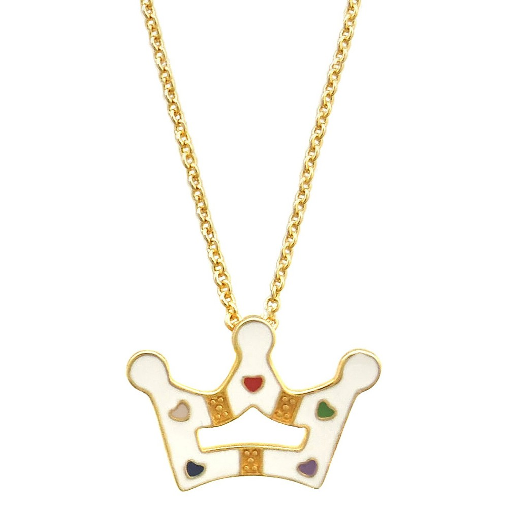 Image of Girls' Ellen Gold Plated Princess Crown Pendant - White, Girl's, Size: Small, Gold/White