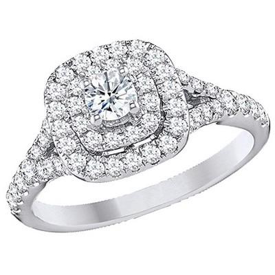 Pompeii3 1 Ct TDW Diamond Engagement Ring Double Cushion Halo 14k White Gold