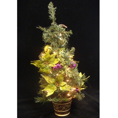 """Allstate Floral 31"""" Prelit Artificial Christmas Tree Slim Lime Green Poinsettia Pine - Clear Lights"""