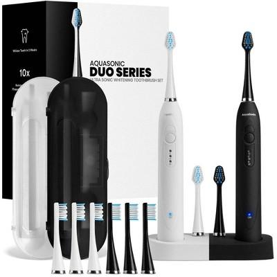 Aquasonic Dual Handle Ultra Whitening Electric Toothbrushes - White & Black